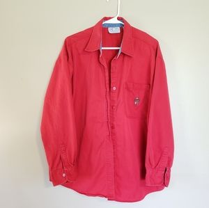 Red Vintage Carolina Blues Long Sleeve Button Down